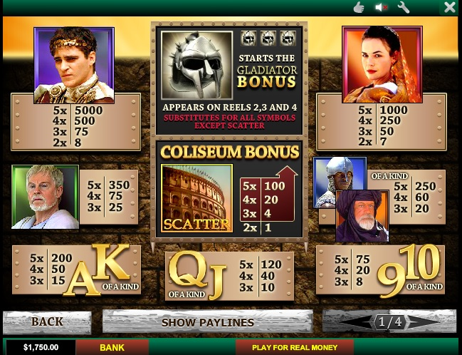 free online gladiator slot games